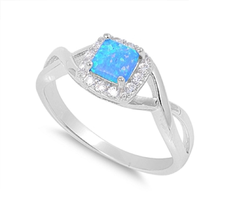 Princess Cut Halo Infinity Blue Simulated Opal Ring Sterling Silver