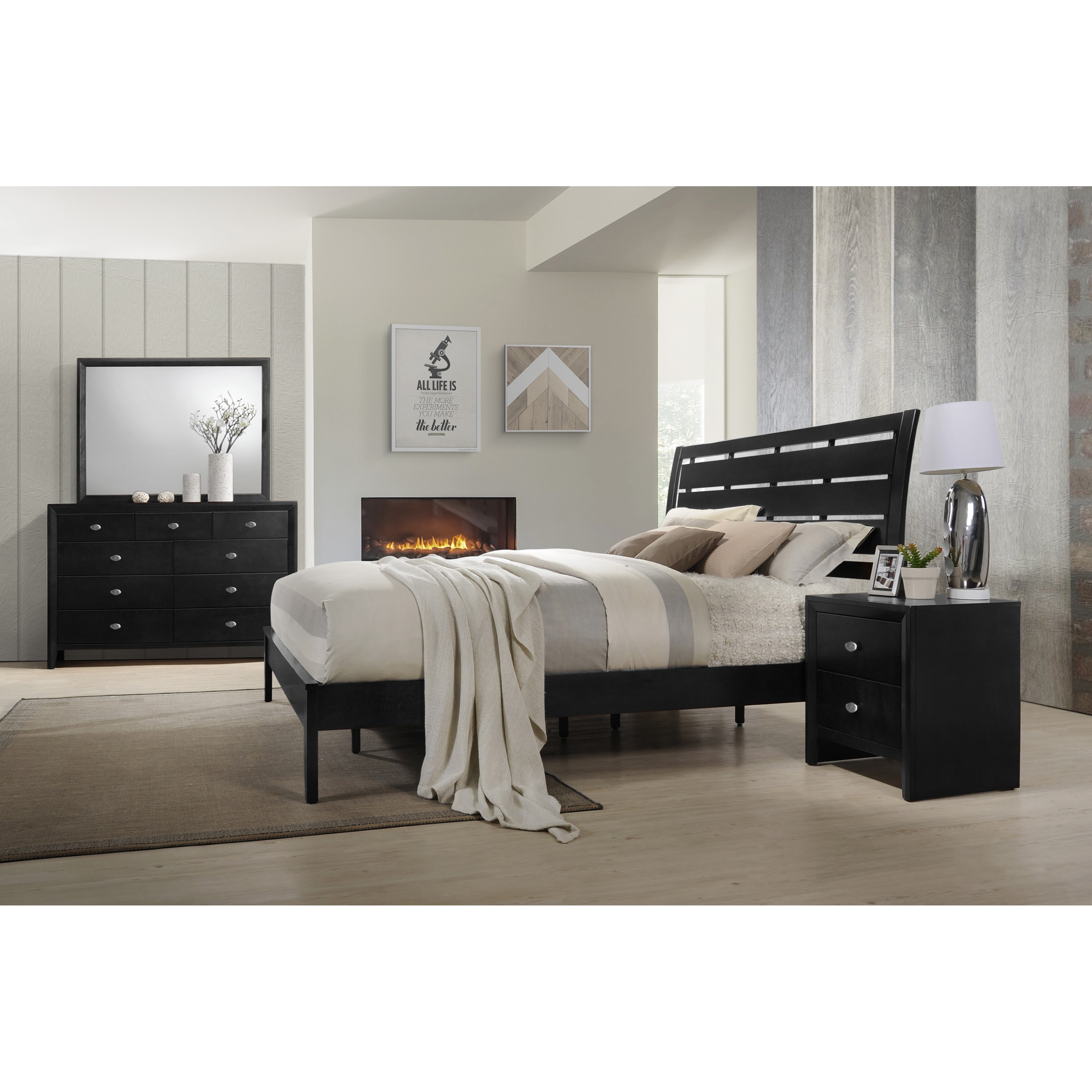 Roundhill Furniture Gloria 350 Black Finish Wood Bed Room Set, Queen Bed, Dresser, Mirror, Night Stand
