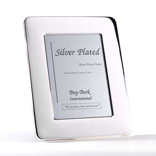 Bey-Berk Silver-Plated 8 x 10 in. Photo Frame with Rounded Corner - Tarnish Proof