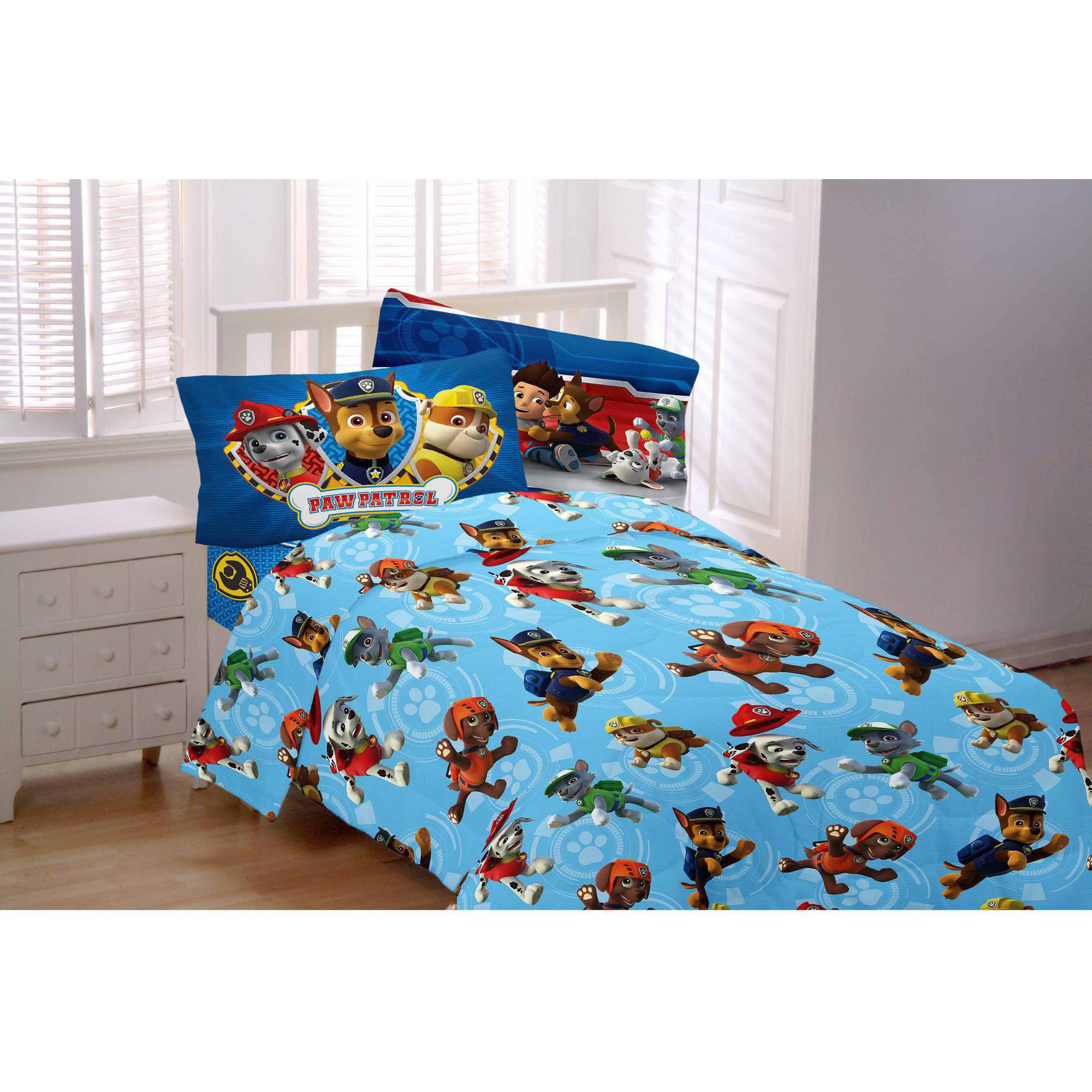 paw patrol 3-piece flannel twin sheet set - walmart