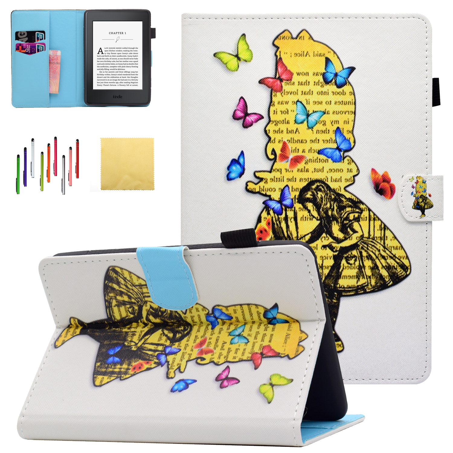 """Kindle Paperwhite 3 2 1 Case, Goodest PU Leather Folio Folding Stand Cover with Pencil Holder Auto Wake Sleep for Amazon Kindle Paperwhite 6"""" (Fits from 2012 to 2016 Versions), Girl"""