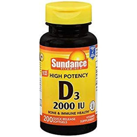 Sundance Vitamins High Potency D3 2000 IU Vitamin Supplement Quick Release Softgels - 200 ct - image 1 of 1