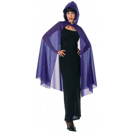 Hooded Glitter Cape Adult Costume Accessory Purple - Black Cape Hood