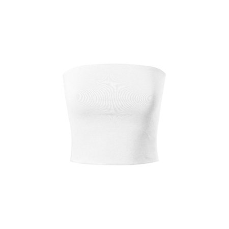 Made by Olivia Women's Causal Strapless Cute Basic Solid Cotton Tube Top White L ()