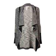 Bar III Women's Long Sleeve Slub-knit Cardigan Sweater (XS, Black Combo)