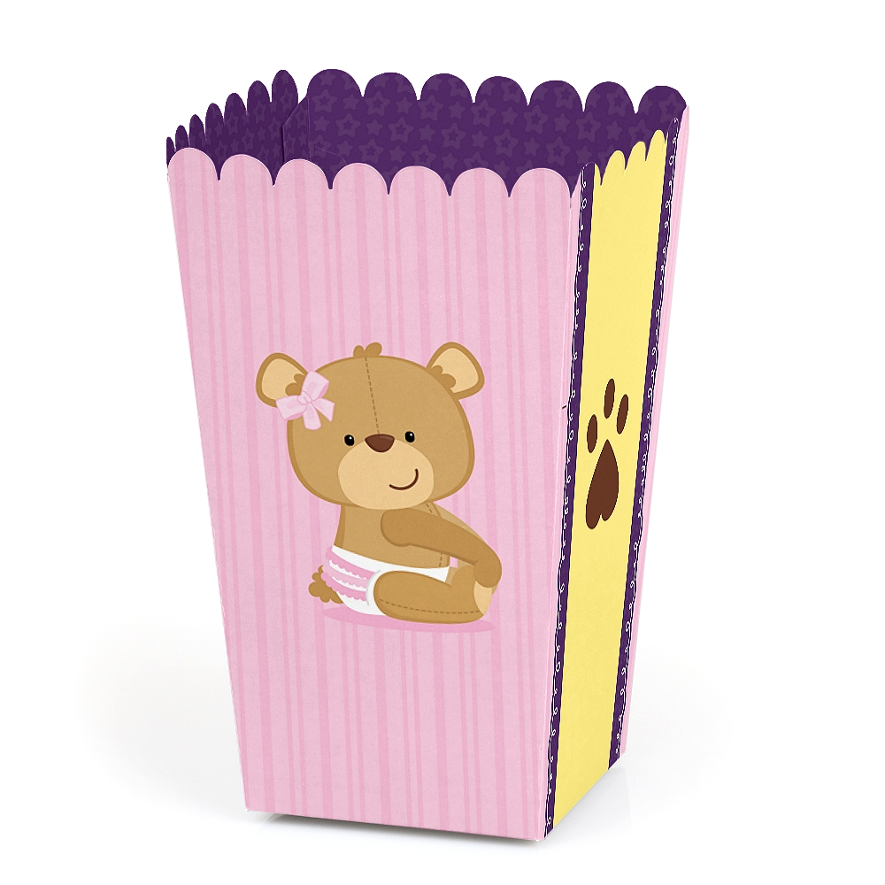 Baby Girl Teddy Bear - Baby Shower Favor Popcorn Treat Boxes - Set of 12