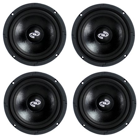 4) Pyle Pro 8 Inch 360 Watt 8-Ohm Black Driver Mid Range Audio Speakers |