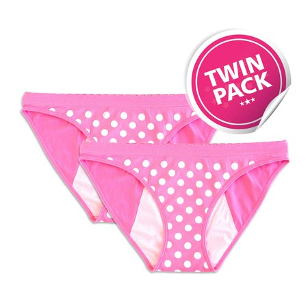 Reusable Period Panty - 2 Pack Pink Polka Dot Bikini (XS)