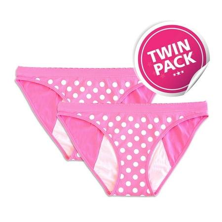 Reusable Period Panty - 2 Pack Pink Polka Dot Bikini - Dot Bikini Panty