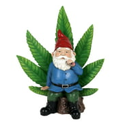 Exhart Good Time Ganja Throne LED Gnome Garden Statue with Timer, 12 inches, Resin, Multicolor