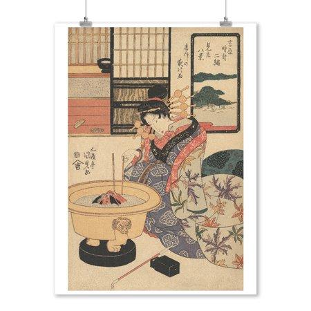 Night Rain on the Brothel Shutters - Masterpiece Classic - Artist: Utagawa Kunisada c. 1830 (9x12 Art Print, Wall Decor Travel Poster) ()