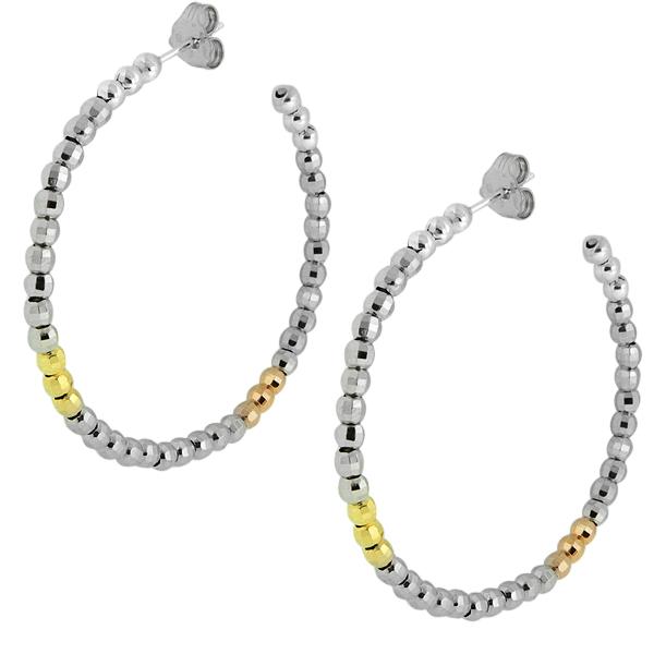 """1.50"""" Multi Color 3-Stone Moon Cut Fancy Beads Sterling Silver Hoop Earrings"""