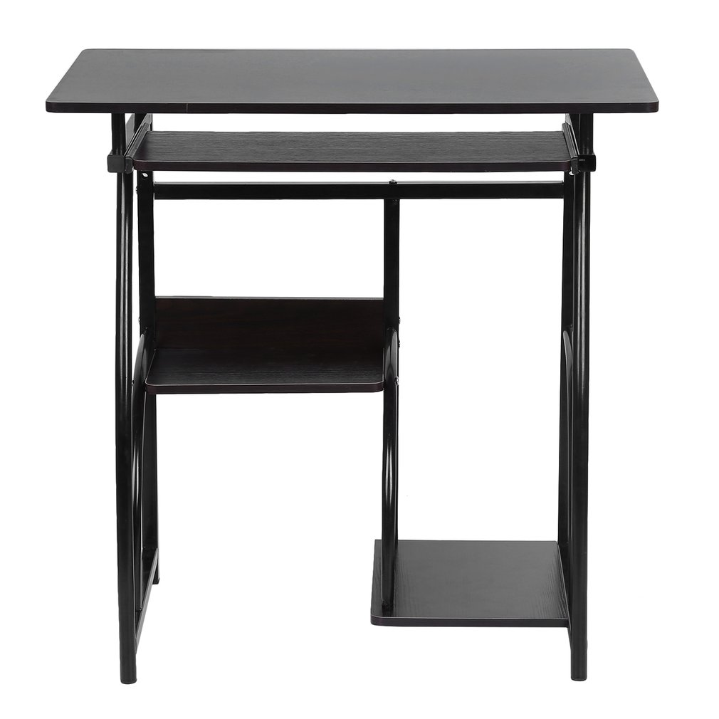 Simple Multifunctional Home House Office Computer Desk Spacious Desktop Table With Mouse Board Tray Writing Desk,Black & Brown