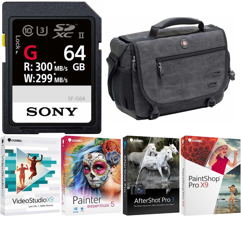 Sony SF-G Series UHS-II 64GB SD Memory Card + DSLR Messenger Bag + Corel Software Kit by Sony