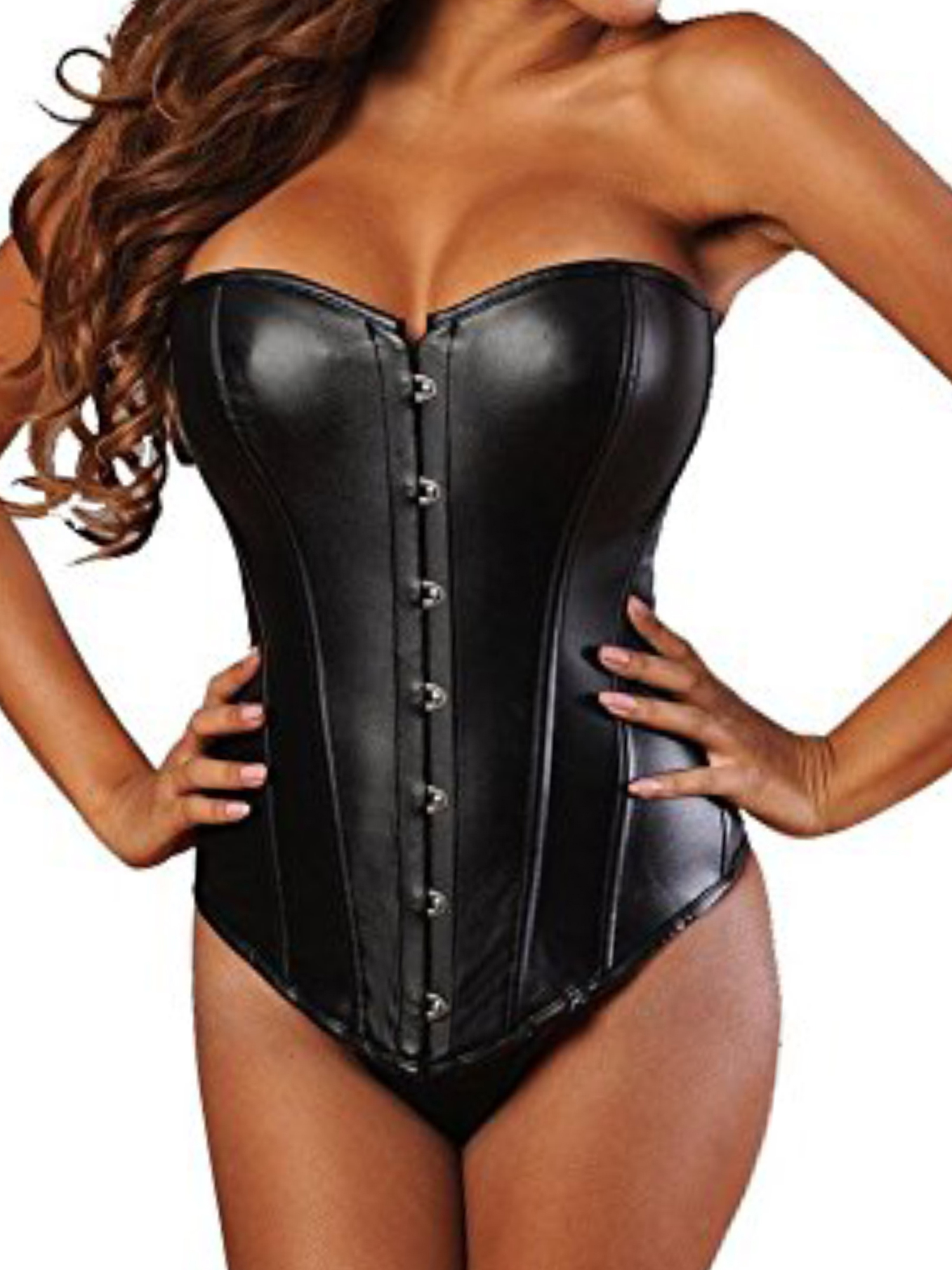 SAYFUT Fashion Women's Faux Leather Overbust Corset Busiter With G-string Body Shaper Top Bodice Black/Red Plus Size S-6XL