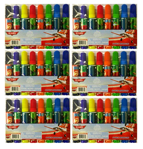 "Set of 6 Disney Planes 8-Pack Childs Markers Assorted Colors 3.5"" Marker"