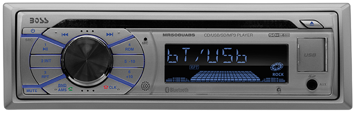 Click here to buy Boss Audio Mr508uabs Marine Cd mp3 Player Single Din Silver Detachable Faceplate Cd-rw Cd-da, Wma Am, Fm 18, 12 X Fm, Am... by Boss Audio.