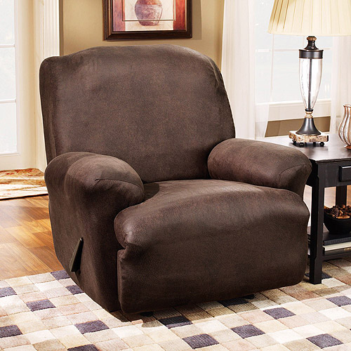 Sure Fit Stretch Leather Recliner Slipcover, Brown