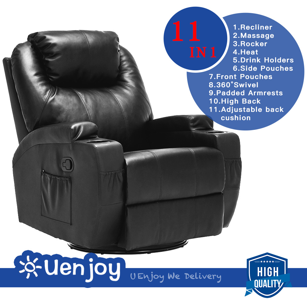 Uenjoy Massage Recliner Leather Sofa Chair Ergonomic Lounge Heated with Cup Holder 360 Degree... by RECLINER GENIUS