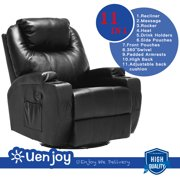Uenjoy Massage Recliner Leather Sofa Chair Ergonomic Lounge Heated with Cup Holder 360 Degree Swivel (Black-11 IN 1)