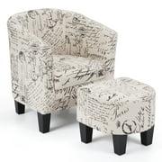 Costway Barrel Accent Chair Tub Chair Linen Fabric Upholstered w/Ottoman Modern Beige