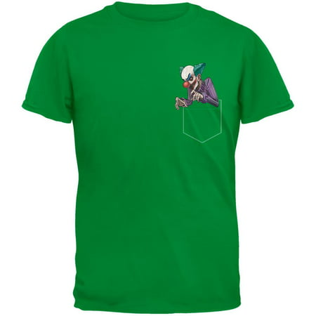 Pocket Halloween Horror Scary Clown Irish Green Adult T-Shirt - Halloween Horror Scary Sounds Music