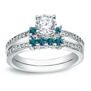 Auriya  Round 1ct TDW Diamond Engagement Ring Set with Blue Diamond Accents 14k Gold