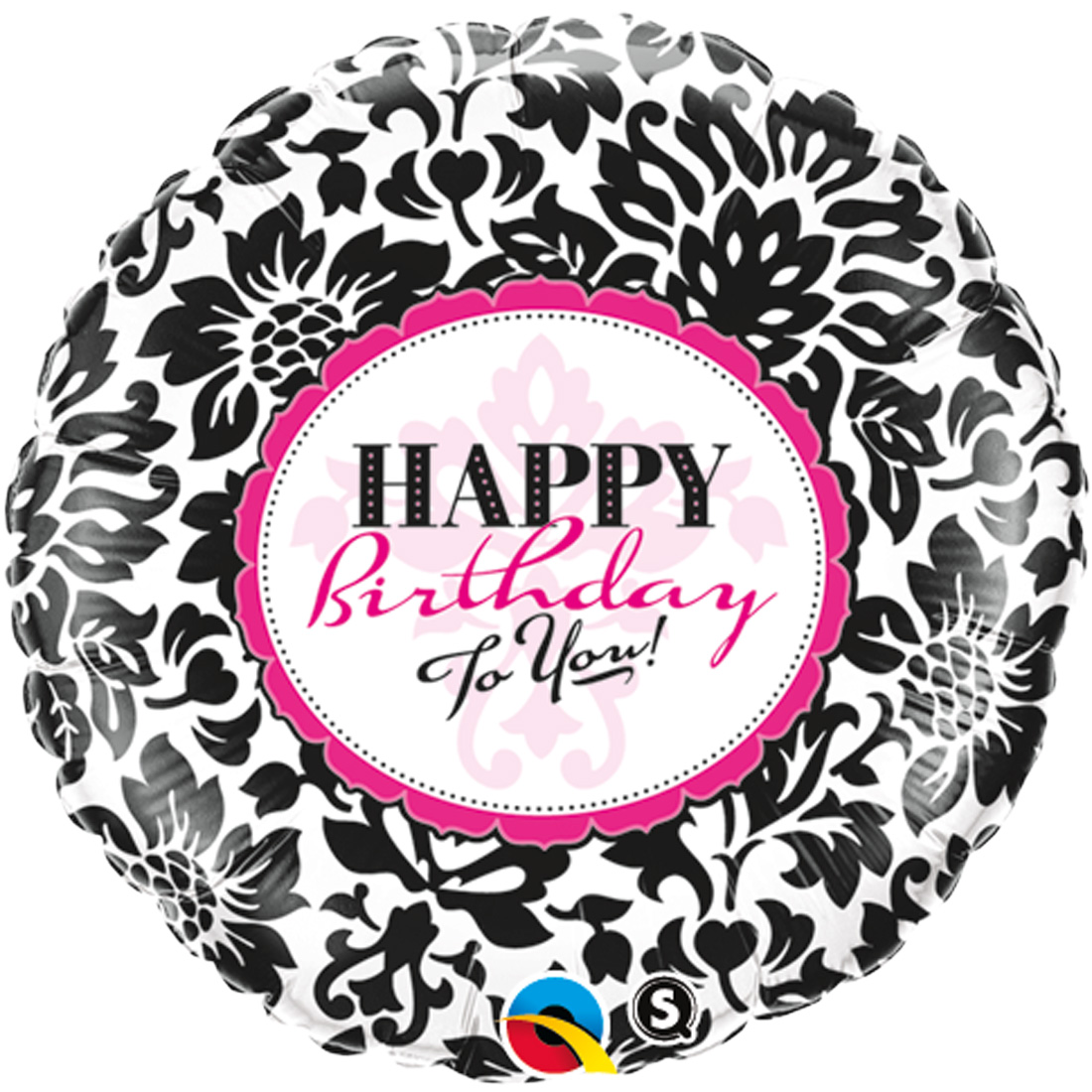 "Qualatex Happy Birthday to You Elegant Damask 18"" Foil Balloon, Black White Pink"