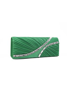 6a0d3849df65 Product Image Satin Hard Case Clutch Bag Encrusted with Rhinestones and  Stones