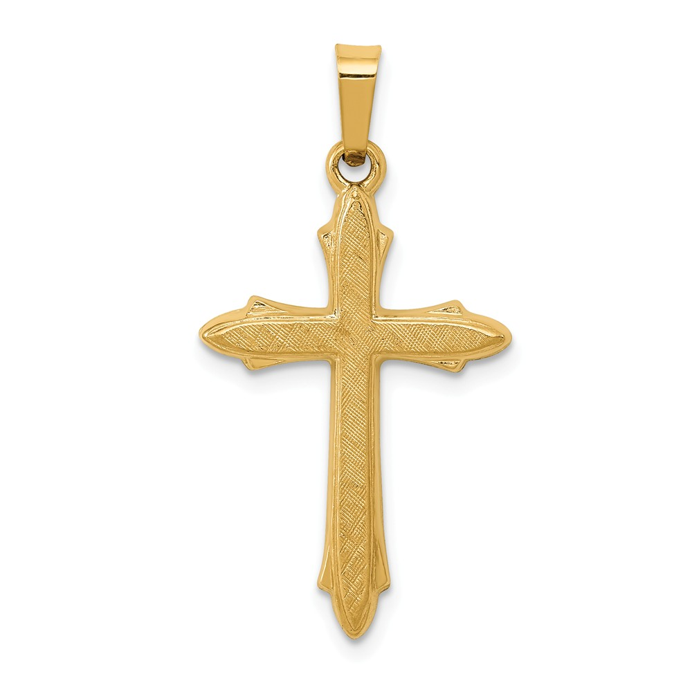 14k Yellow Gold Textured and Polished Passion Cross Pendant
