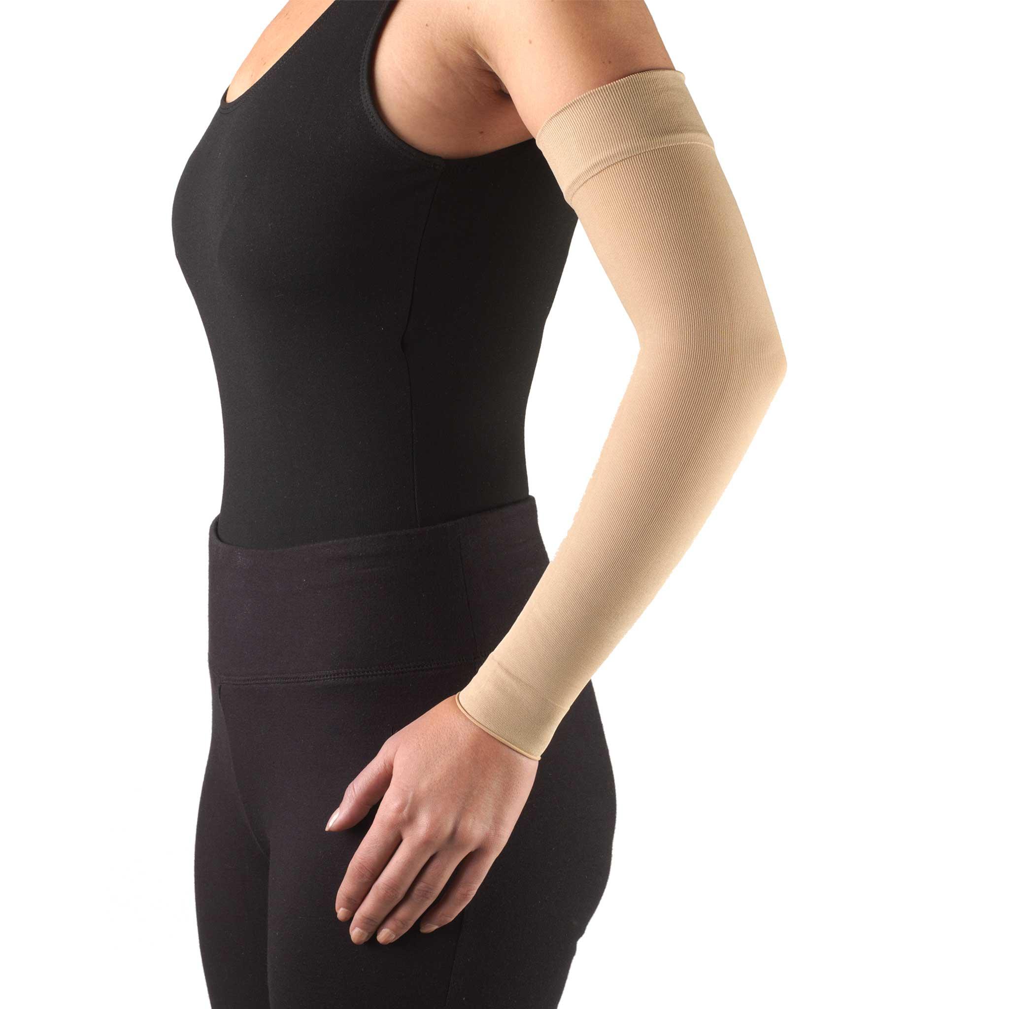 Truform Lymphedema Compression Arm Sleeve: 15-20 mmHg, Beige, Medium