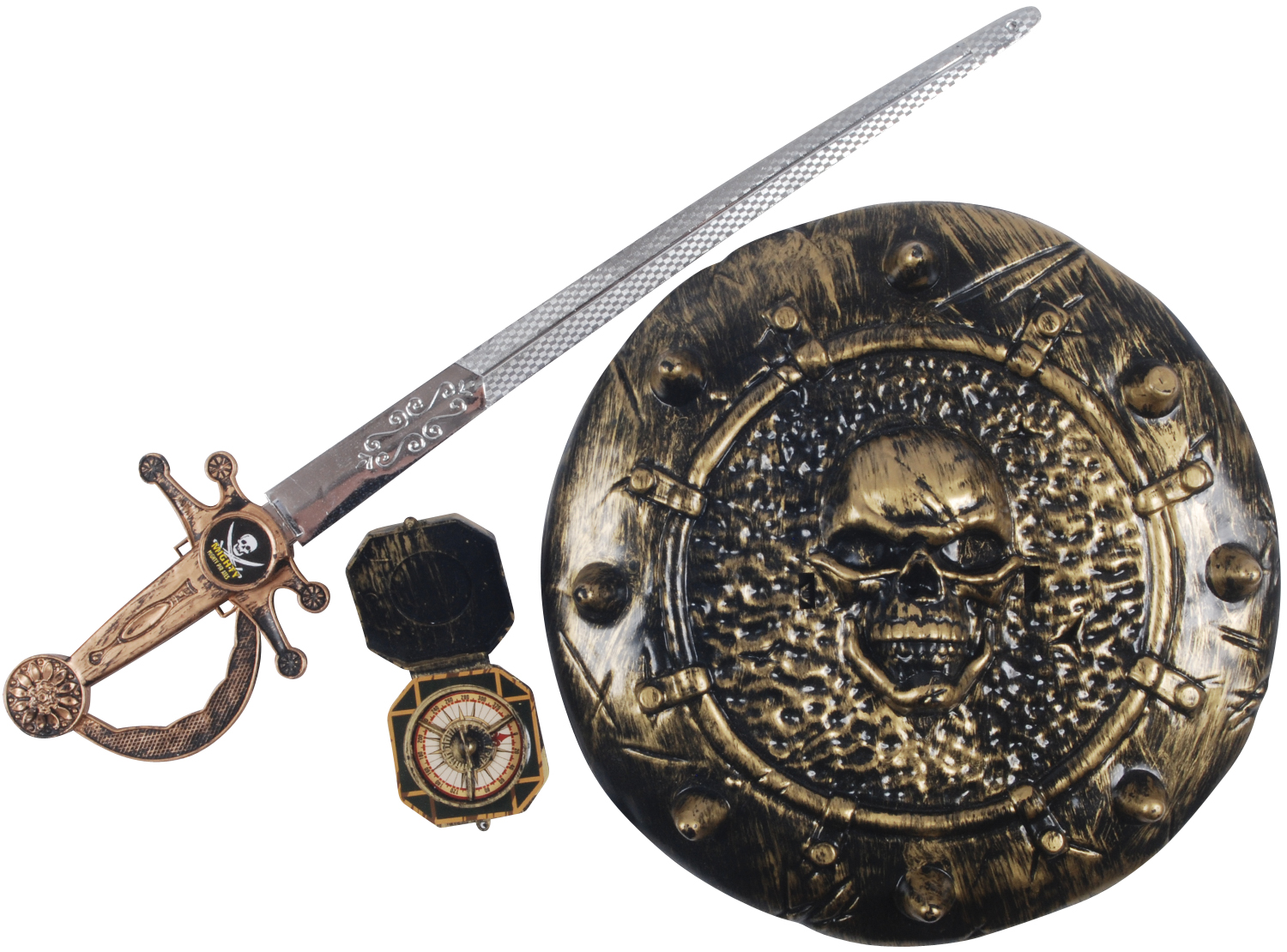 Loftus Pirate Warrior Sword Shield Compass 3pc Accessory Kit, One Size by Loftus International