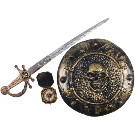 Loftus Pirate Warrior Sword Shield Compass 3pc Accessory Kit, One Size](Pirate Swords For Sale)
