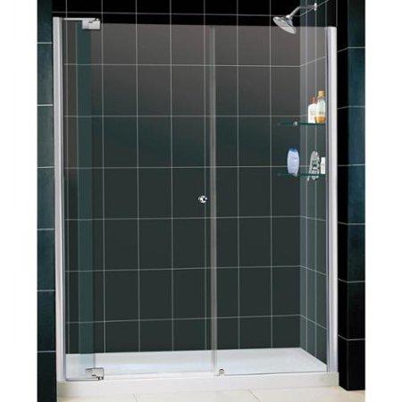 DreamLine Allure Frameless Pivot Shower Door and SlimLine 32 x 60-inch Single Threshold Shower Base Chrome Finish Hardware; Center Drain Base