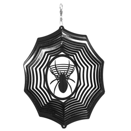 SWEN Products HOLIDAY HALLOWEEN SPIDER Web Metal Wind Spinner ()