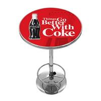 Coke Chrome Pub Table Coca-Cola Things Go Better with Coke Bottle Art by Trademark Global LLC