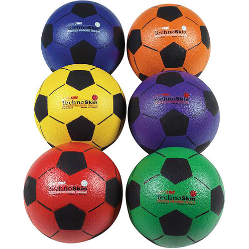Sportime TechnoSkin Coated Indoor Foam Soccer Balls, Set of 6