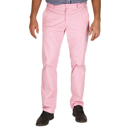 Mens Modern Stretch Fit Flat Front Casual Pants (Light Pink, Size 32W x (Soft Chino)