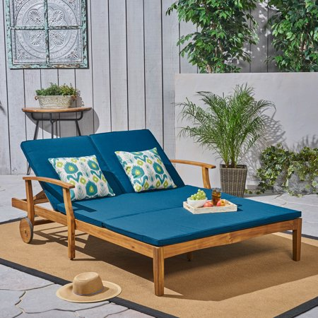 Danielle Outdoor Acacia Wood Double Chaise Lounge With