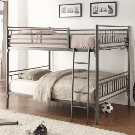 Home Source Henry Full Size Bunk Bed Gray (Bunk Beds For Kids Full Over Full)