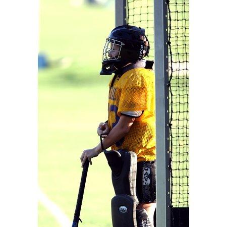 LAMINATED POSTER Stick Field Hockey Helmet Goalie Net Goal Tender Poster Print 24 x 36