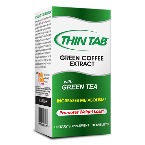 Thin Tab Green Coffee Extract with Green Tea Dietary Supplement Tablets, 30 count