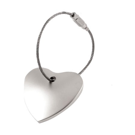Silver Clover Key Pendant - Metal Heart Shaped Pendant Key Ring Chain Silver Tone