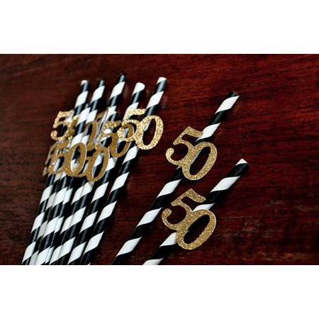 Black and Gold Straws for 50th Party 10CT. Ships in 1-3 Business Days. 50th Birthday Party Ideas.