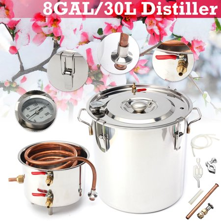 2/5/8 Gal 8L/ 20L/30L Boiler Distiller Still Stainless Steel Copper Distilled Alcohol Beer Wine Water Moonshine Spirits Equipment For Home Brew Distilling Self-making Healthy
