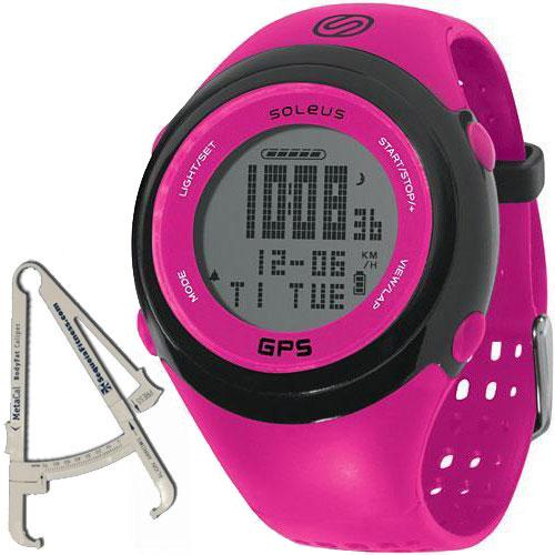 SoleusAir GPS FIT Watch with BodyFat Caliper - Fuchsia Black