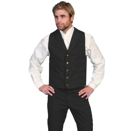 Big And Tall Cotton Vest - Scully Old West Vest Mens Western Lined Button Cotton Canvas RW041