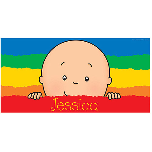 Personalized Caillou Peek-A-Boo Rainbow Beach Towel
