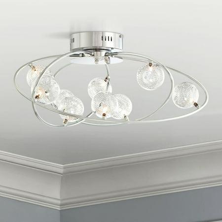 - Possini Euro Design Modern Ceiling Light Flush Mount Fixture Chrome 23 3/4