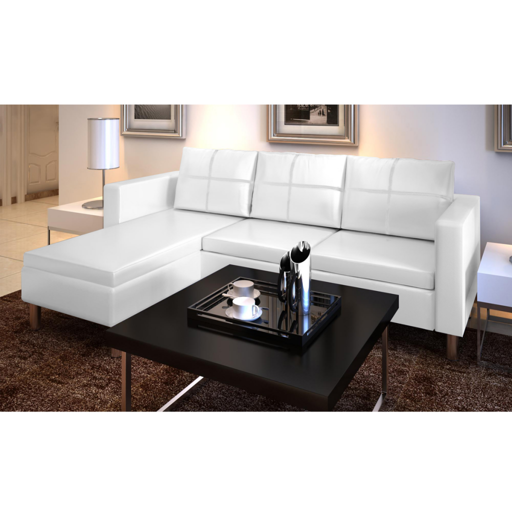 Anself Family 3-Seater L-shaped Artificial Leather Sectional Sofa Black/White Couch Style Set Upholstered